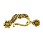 Bronze Plate Hook & Eye Clasp - Leaf & Flower