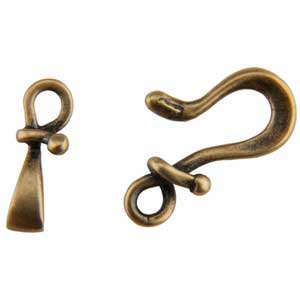 Bronze Plate Hook & Eye Clasp - Forged 24mm - 1 Set