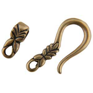 Bronze Plate Hook & Eye Clasp - Designer Leaf
