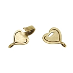 Bronze Plate Hook & Eye Clasp - Mini Flat Heart 28.9mm x 10.8mm - 1 Set