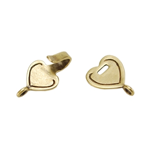 Bronze Plate Hook & Eye Clasp - Mini Flat Heart