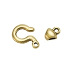 Bronze Plate Hook & Eye Clasp - Tiny Tubular 19.9mm x 10.3mm - 1 Set
