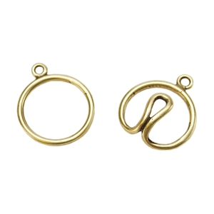 Bronze Plate Hook & Eye Clasp - Wire Round 36.2mm x 16.7mm - 1 Set