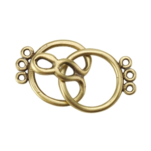 Bronze Plate Hook & Eye Clasp - Round 3 Strand 26mm x 13.4mm - 1 Set