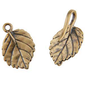 Bronze Plate Hook & Eye Clasp - Aspen Leaf 39mm - 1 Set