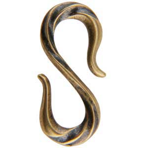 Bronze Plate S-Hook Clasp - 10.5mm x 22mm Pkg - 1