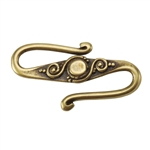 Bronze Plate S-Hook Clasp - Fancy 15mm x 27mm Pkg - 1