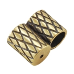 Bronze Plate Slide Ends - Double Strand 4mm Pkg - 2