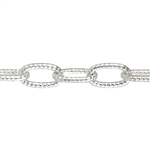 Sterling Silver Chain - 3mm Textured Link Chain - 1 Foot