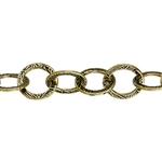 Antique Brass Plate Chain - Stamped Cable - 1 Foot