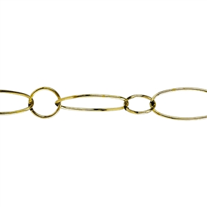 Soldered Brass Chain - Fire Dipped Round & Oval Cable 7.4mm - 1 Foot