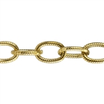 Brass Chain - Textured Oval Cable 9.2mm - 1 Foot