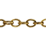 Brass Chain - Textured Oval Cable 5mm - 1 Foot
