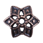 Copper Plate Bead Cap - Snowflake 8.5mm Pkg - 2