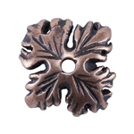 Copper Plate Bead Cap - Leaf 9mm Pkg - 2