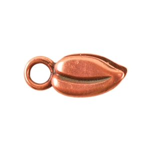Copper Plate Crimp End Cap - Heart Leaf 2mm