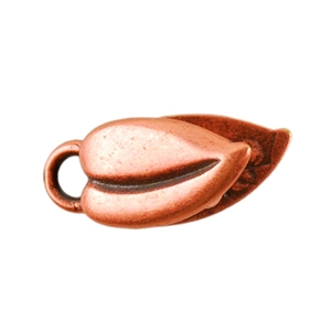 Copper Plate Crimp End Cap - Heart Leaf 3mm