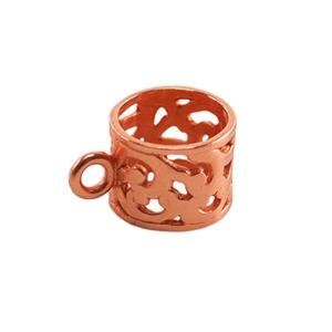 Copper Plate Tube Bail with Ring - Filigree 9x15.5mm