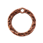 Copper Plate Charm - Hammered Circle Pkg - 1