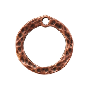 Copper Plate Charm - Hammered Circle