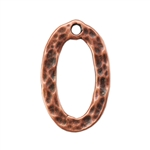 Copper Plate Charm - Hammered Oval Pkg - 1