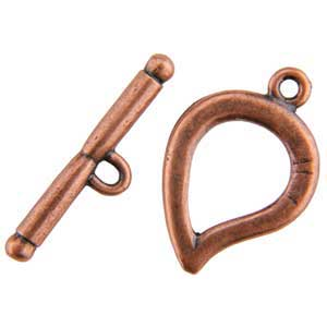 Copper Plate Toggle Clasp - Plain Leaf