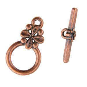 Copper Plate Toggle Clasp - Circle Flower