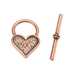 Copper Plate Toggle Clasp - Mini Heart - 1 Set