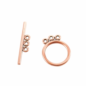 Copper Plate Toggle Clasp - 3 Strand Circle