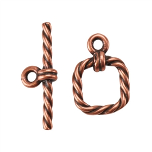 Copper Plate Mini Toggle Clasp - Roped Square