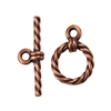 Copper Plate Mini Toggle Clasp - Roped Circle