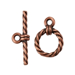 Copper Plate Mini Toggle Clasp - Roped Circle - 1 Set