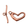 Copper Plate Toggle Clasp - Funky Heart