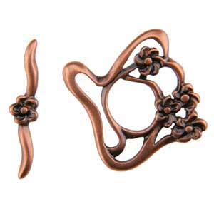 Copper Plate Toggle Clasp - Designer Flower - 1 Set