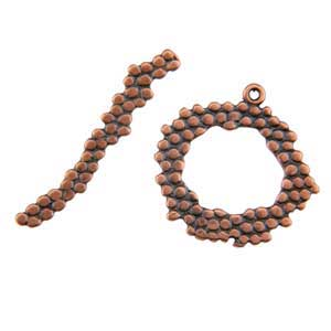 Copper Plate Toggle Clasp - Wreath Dot