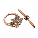 Copper Plate Mini Toggle Clasp - Floral Bouquet - 1 Set
