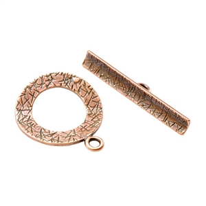 Copper Plate Mini Toggle Clasp - Textured Ring - 1 Set