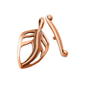 Copper Plate Mini Toggle Clasp - Birch Leaf - 1 Set