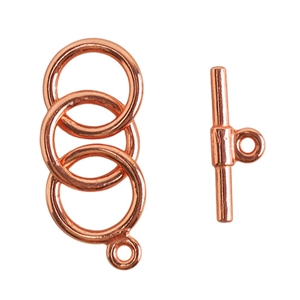 Copper Plate Mini Toggle Clasp - 3 Rings 9mm - 1 Set