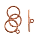 Copper Plate Mini Toggle Clasp - 3 Rings 12mm - 1 Set