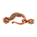 Copper Plate Mini Hook & Eye Clasp - Leaf & Flower - 1 Set