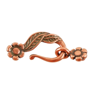 Copper Plate Mini Hook & Eye Clasp - Leaf & Flower