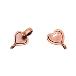 Copper Plate Hook & Eye Clasp - Mini Flat Heart - 1 Set