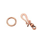 Copper Plate Hook & Eye Clasp - Locking - 1 Set