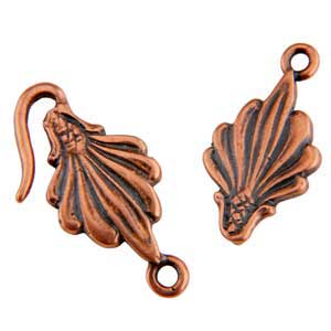 Copper Plate Hook & Eye Clasp - Leaf - 1 Set