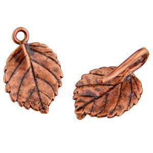 Copper Plate Hook & Eye Clasp - Aspen Leaf - 1 Set