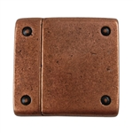 Antique Copper Plate Magnetic Leather Clasp - Rivet 20mm - 1 Set