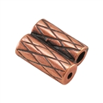 Copper Plate Slide Ends - Double Strand 1mm Pkg - 2