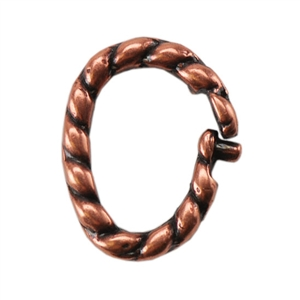 Copper Plate Jump Ring - Locking Twisted Oval 7mm x 8.5mm Pkg - 5