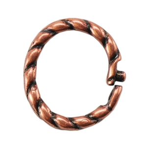 Copper Plate Jump Ring - Locking Twisted Oval 8mm x 9mm Pkg - 5